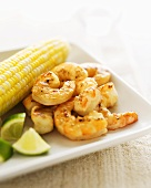 Grilled Gulf Shrimp with Organic Corn on the Cob; Lime Wedges