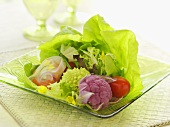 Artisan Salad with Boston Lettuce Cauliflower, Tomato and Edible Veggie Sachet