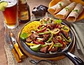 Steak Fajita Dinner in Iron Skillet; Beer