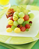 Melon Ball Fruit Salad on a Plate