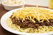 Cincinnati Chili; Chili Over Spaghetti with Shredded Cheese