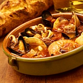 Seafood Stew with Shellfish and Calamari; Crusty Bread