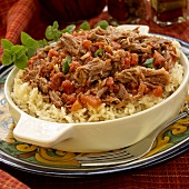 Ropa Vieja (beef with tomatoes on a bed of rice, Cuba)