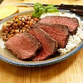 Sliced Bottom Round Roast with Rice and Beans