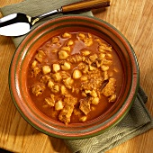 Bowl of Menudo Soup; Mexican Tripe and Hominy Soup
