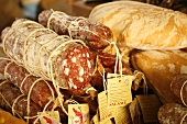 Italian Salami and Bread at Market; Florence, Italy