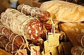 Italian Salami and Bread at Market; Florence, Italy