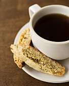 Cup of Coffee with Cornmeal Almond Biscotti