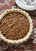Whole pecan pie from above