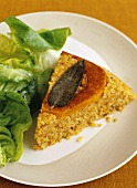 Piece of Quinoa Pie with Butternut Squash ; Side Salad