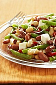 Three Bean Salad on Glass Plate; Fork