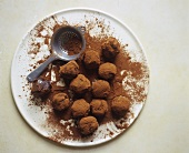 Chocolate Truffles in Cocoa Powder; Sifter