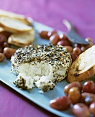 Herbed Chevre Cheese with Grapes and Bread