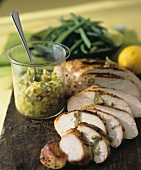 Sliced Lemon Turkey Breast with Green Olive and Lemon Tapenade