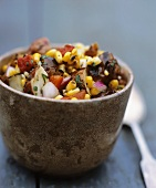 Grilled Corn, Potato and Pepper Salad in a Bowl