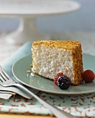 Slice of Angel Food Cake with Berries