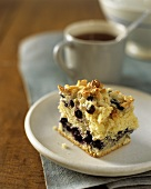 Piece of Blueberry Almond Coffee Cake, Cup of Coffee