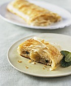 Apple Mint Strudel on a Plate