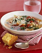 Southern White Bean Vegetable Soup with Corn Bread