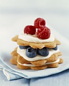Layered Daisy Cookies with Cream and Berries