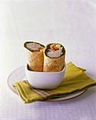 Turkey and Veggie Wrap Halved in a Bowl
