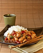 Chicken Stir Fry with Rice; Chopsticks
