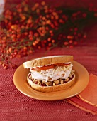 Turkey, Stuffing and Cranberry Sandwich on an Orange Plate