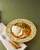 Sliced Turkey with Mashed Potatoes and Peas and Carrots