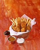 Fried Chicken Tenders with French Fries and Dipping Sauces