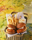 Fried Chicken Sandwiches with French Fries and Cold Slaw