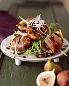 Bacon Wrapped Figs on Greens