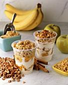 Yogurt, Banana and Granola Parfaits