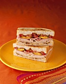 Cuban Sandwich on Toasted Bread; Halved and Stacked