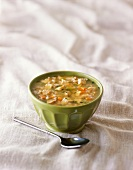 Bowl of Chicken Soup; Spoon