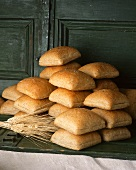 Many Square Wheat Rolls; Piled
