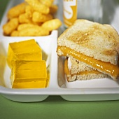 Child's Lunch Tray; Grilled Cheese with Jello