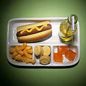 TV Tray Lunch with Hot Dog, Cheetos, Cookies, Jello and Soda