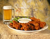 Buffalo Wings with Ranch Dressing; Beer