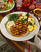 Grilled Chicken Breast with Mango Papaya Salsa and Vegetables