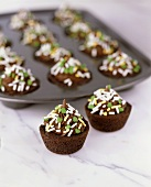 Mini Chocolate Cupcakes with Shamrock Sprinkles