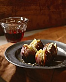 Four Cheese Filled Figs; Glass of Wine