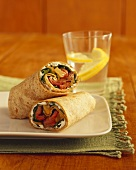 Grilled Steak and Pepper Wrap with Spinach; Lemon Water