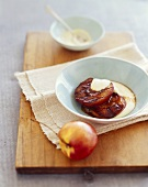 Grilled Peaches with Creme Anglaise in a Bowl