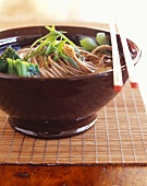 Bowl of Soba Noodle Soup with Green Onions; Chopsticks