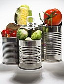 Fresh tomatoes, corn on the cob and Brussels sprouts in food cans