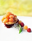 Raspberry cream tart with white raspberries