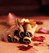Cinnamon Sticks and Autumn Leaves