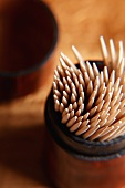 Toothpicks in Leather Container