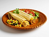 Chicken and Beef Tamales on a Plate with Corn Salad