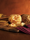 Pimento Cheese Ball; Crackers and Knife; Cheese on Cracker